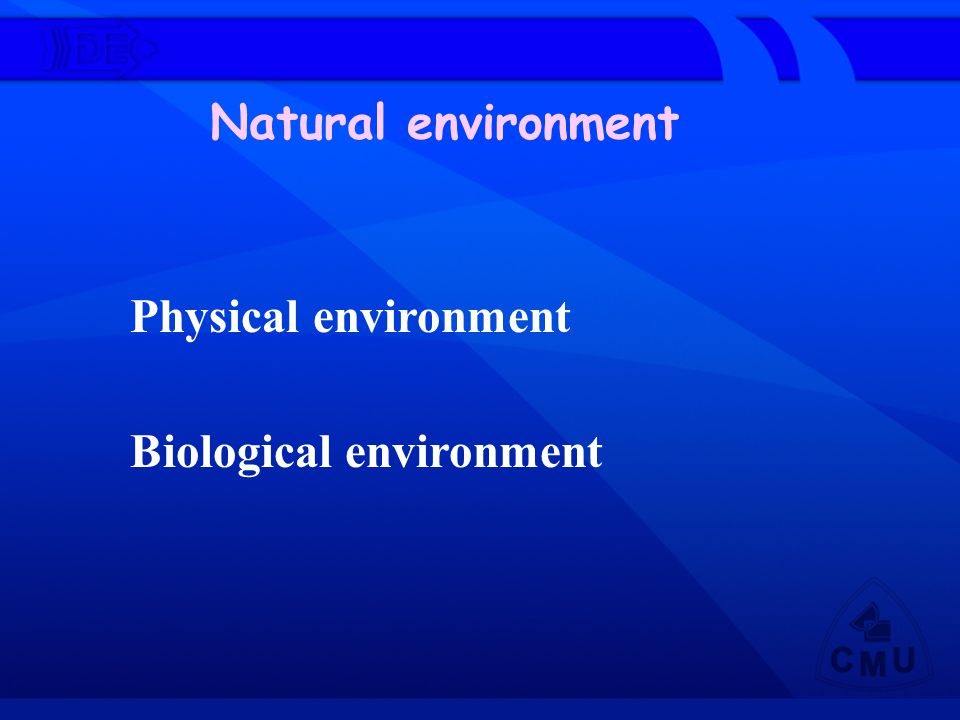 Natural environment Physical environment Biological environment