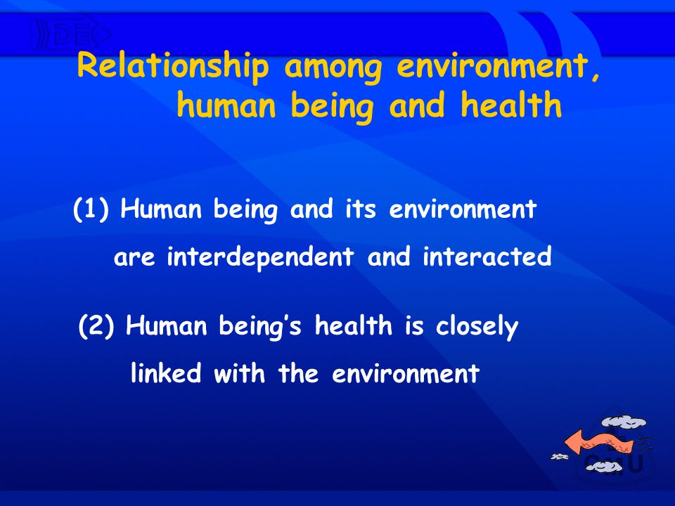 Relationship among environment, human being and health
