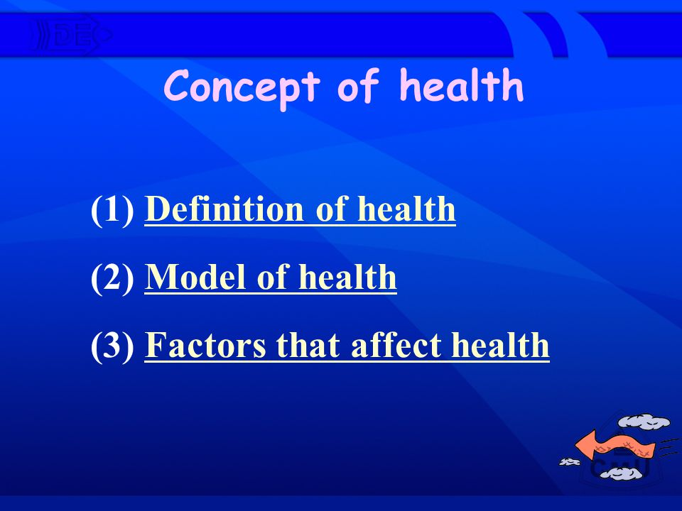 Concept of health (1) Definition of health (2) Model of health