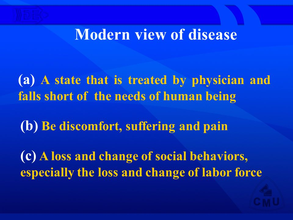 Modern view of disease (a) A state that is treated by physician and falls short of the needs of human being.