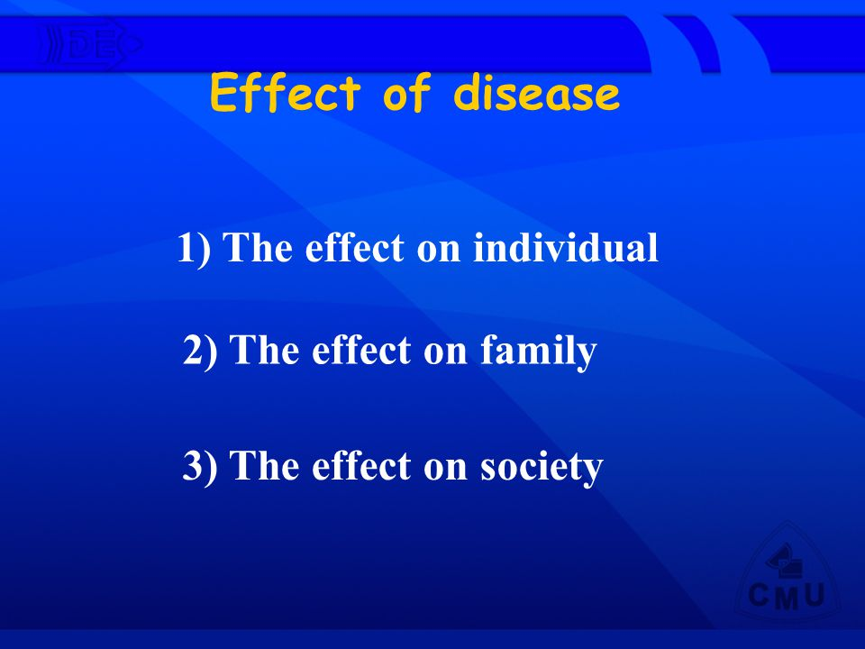 Effect of disease 1) The effect on individual 2) The effect on family