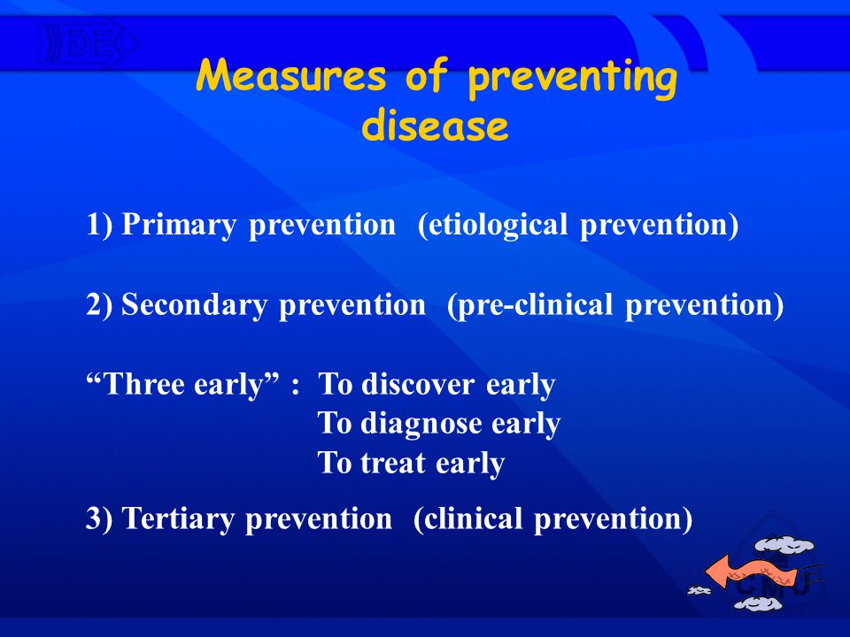Measures of preventing disease