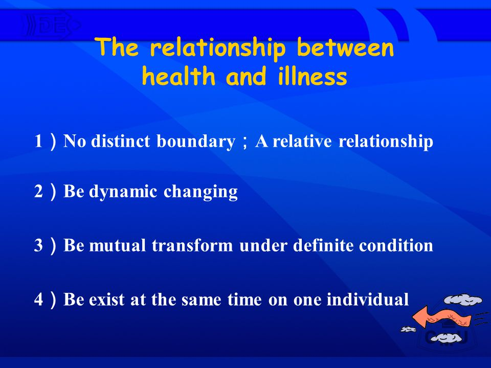 The relationship between health and illness