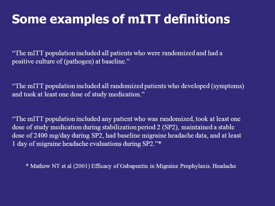 Some examples of mITT definitions