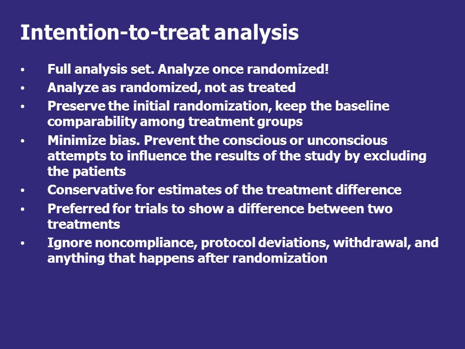 Intention-to-treat analysis