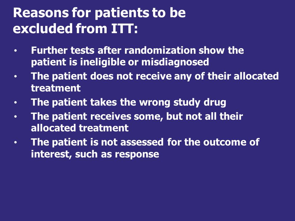 Reasons for patients to be excluded from ITT: