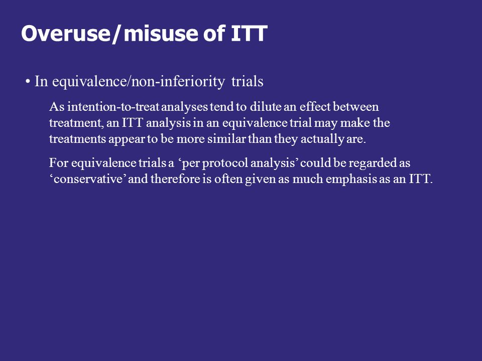 Overuse/misuse of ITT In equivalence/non-inferiority trials