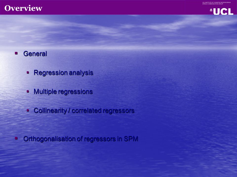 Overview General Regression analysis Multiple regressions