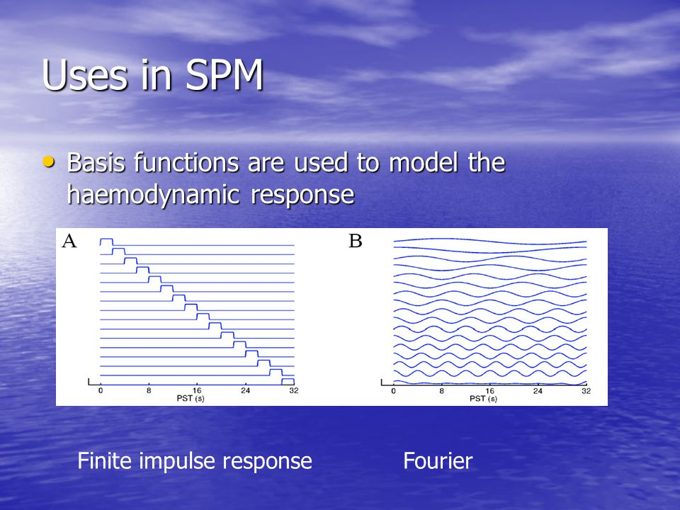 Uses in SPM Basis functions are used to model the haemodynamic response.