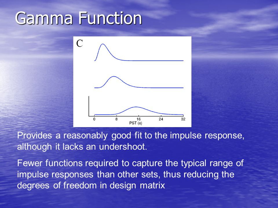 Gamma Function Provides a reasonably good fit to the impulse response, although it lacks an undershoot.