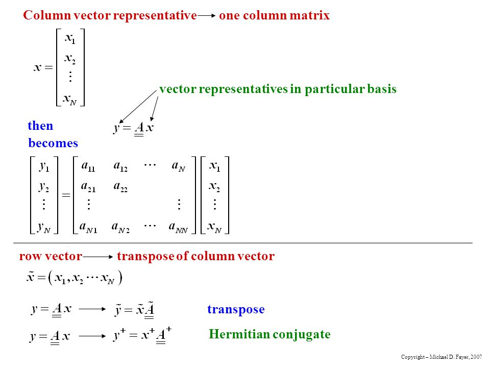 Column vector representative one column matrix