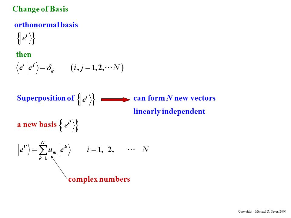 Change of Basis orthonormal basis then