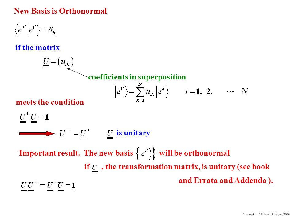 New Basis is Orthonormal