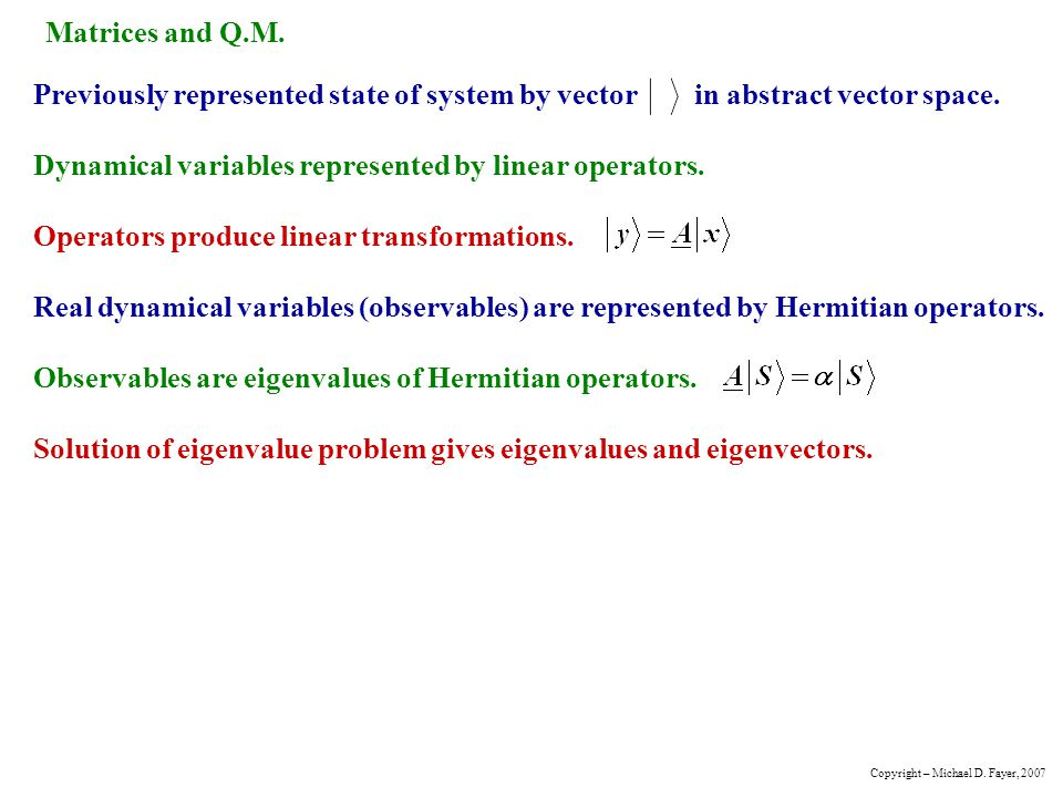 Matrices and Q.M.