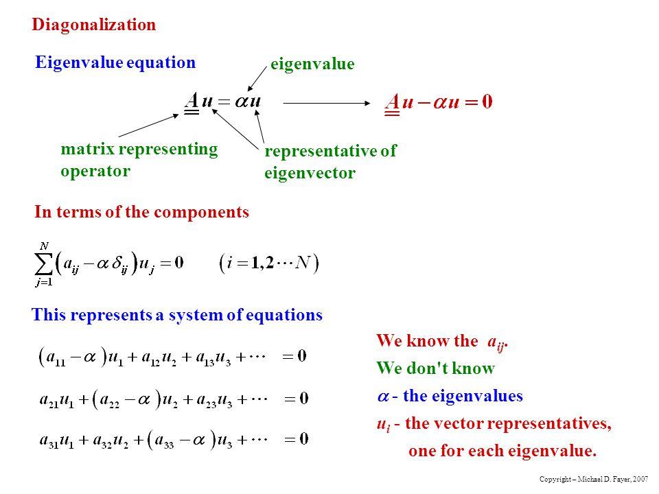 matrix representing operator representative of eigenvector