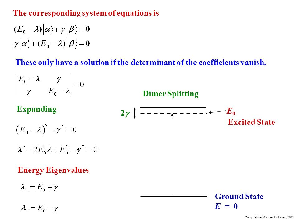 The corresponding system of equations is