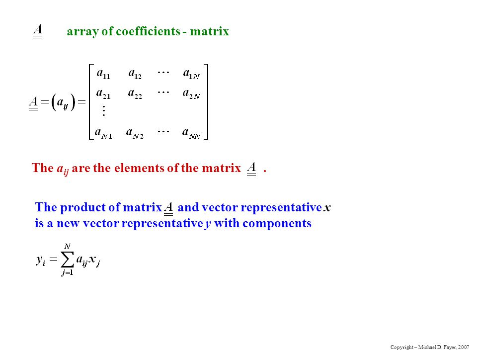 array of coefficients - matrix