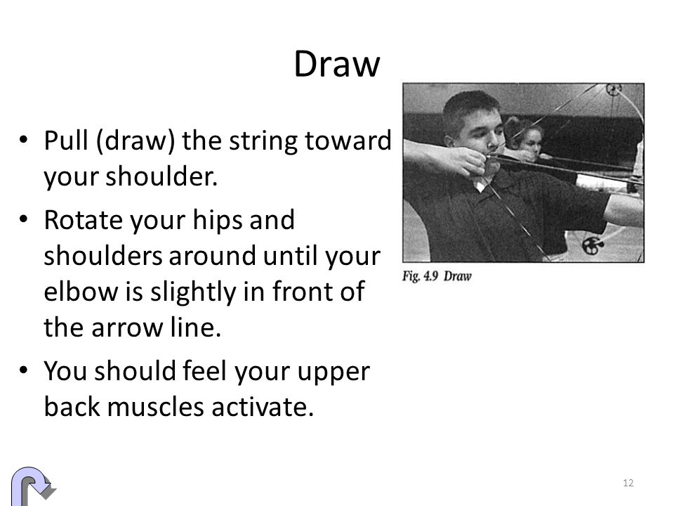 Draw Pull (draw) the string toward your shoulder.