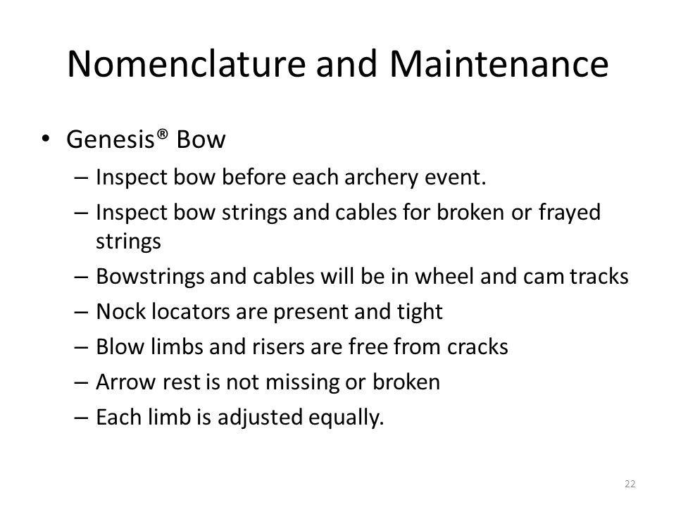 Nomenclature and Maintenance