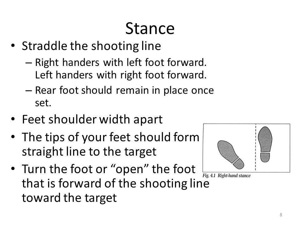 Stance Straddle the shooting line Feet shoulder width apart