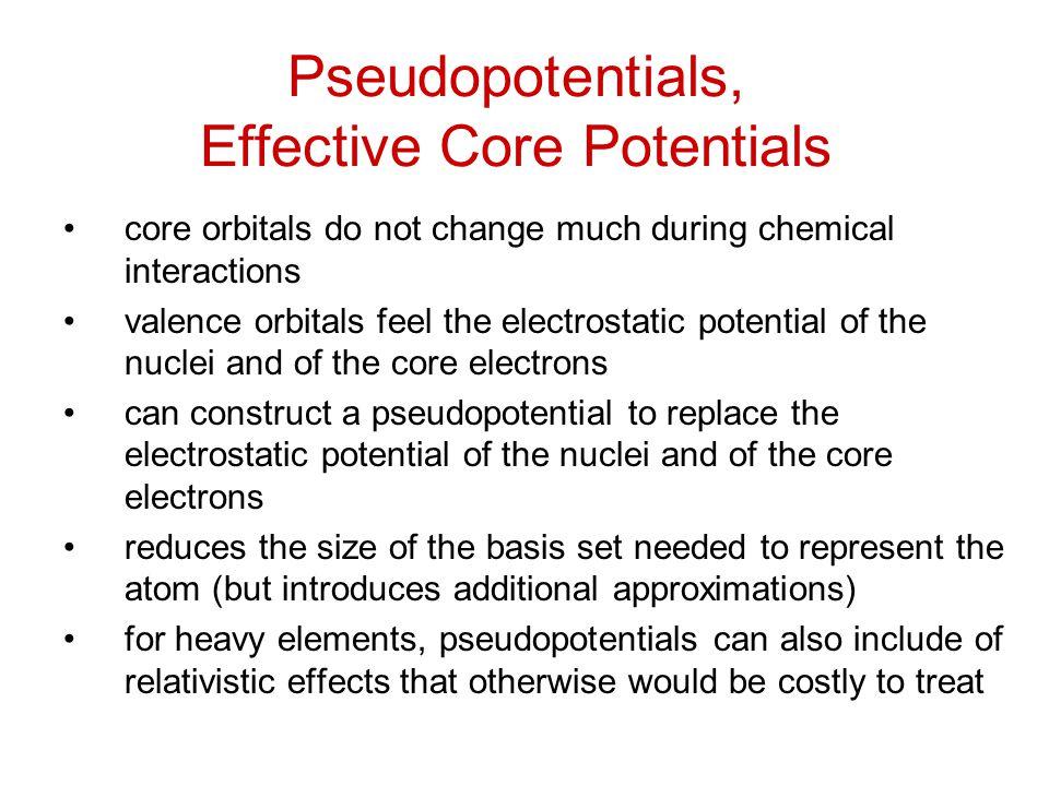 Pseudopotentials, Effective Core Potentials