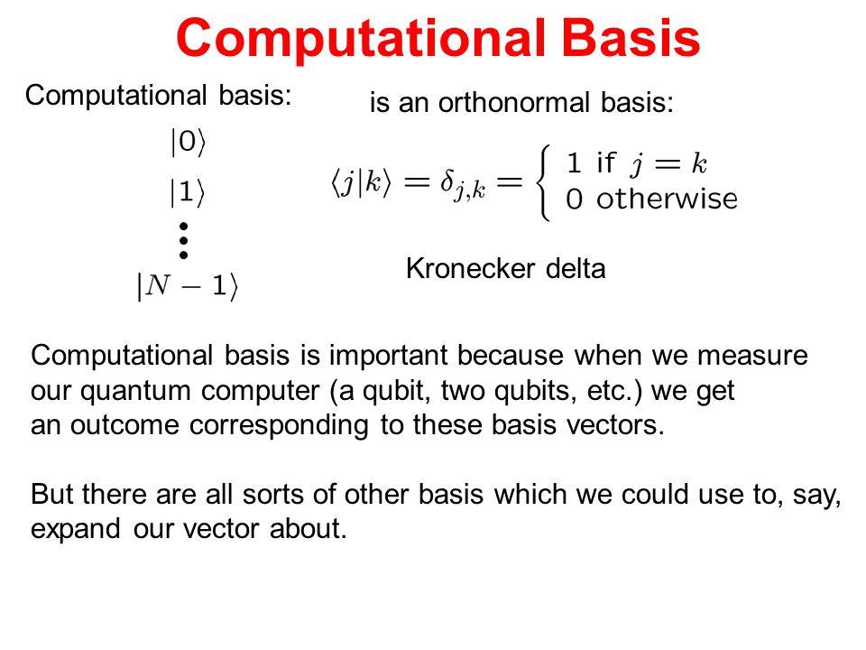 Computational Basis Computational basis: is an orthonormal basis: