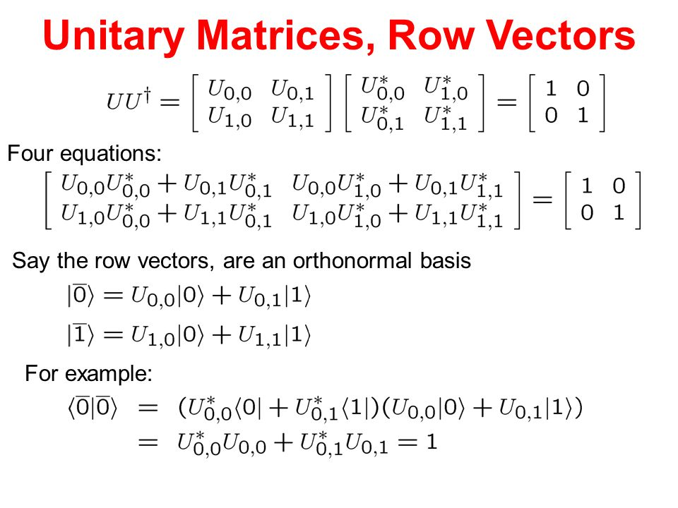 Unitary Matrices, Row Vectors