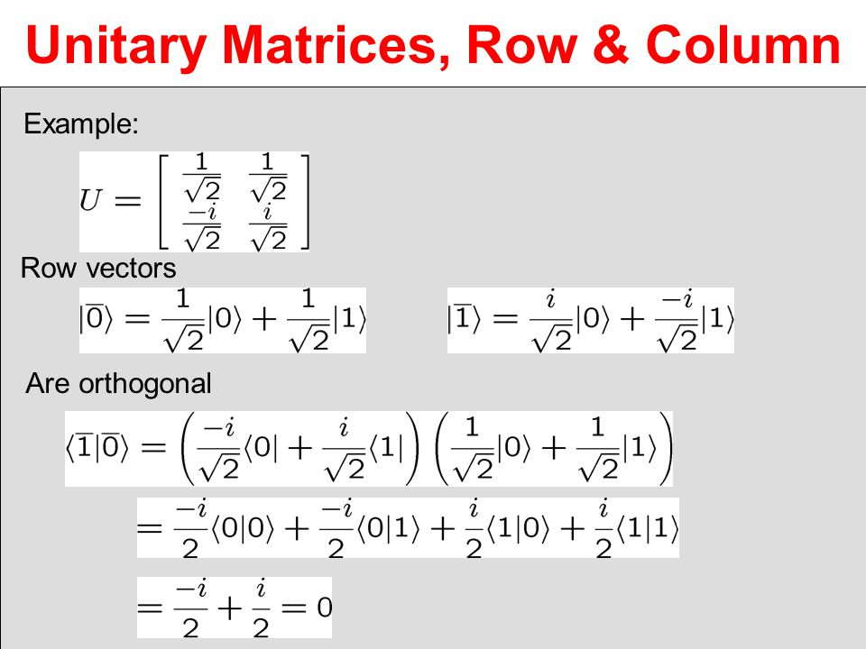 Unitary Matrices, Row & Column