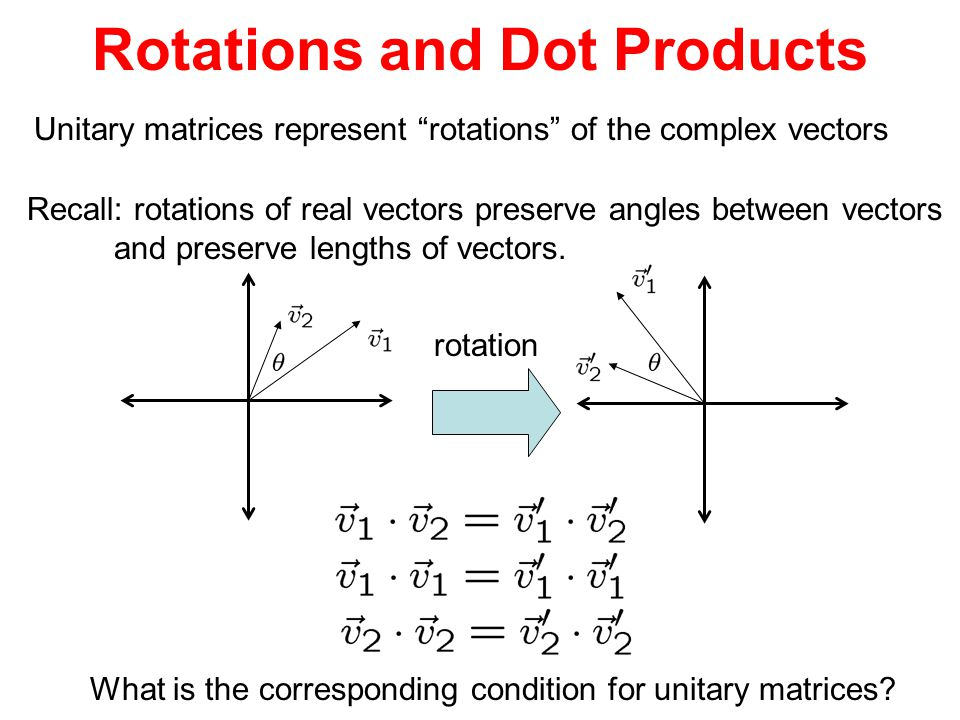 Rotations and Dot Products