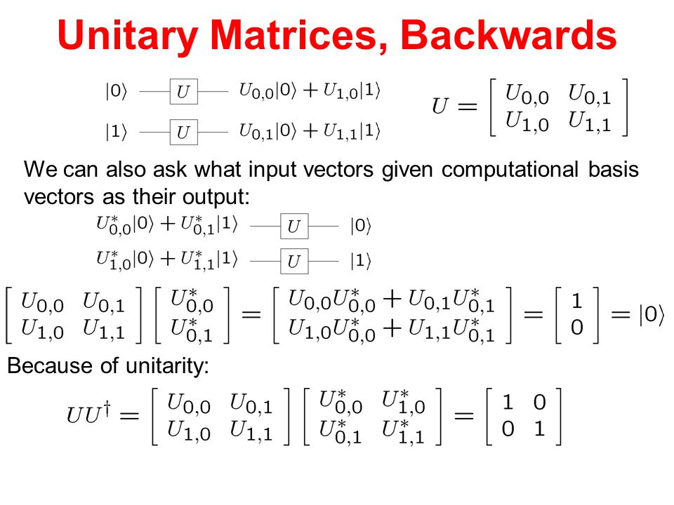 Unitary Matrices, Backwards