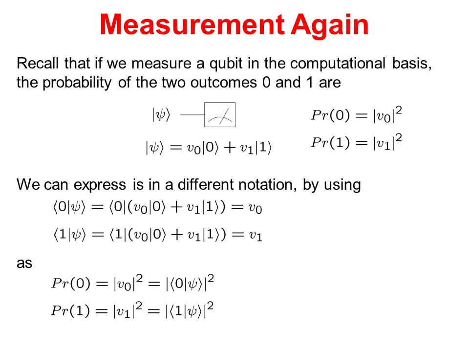 Measurement Again Recall that if we measure a qubit in the computational basis, the probability of the two outcomes 0 and 1 are.