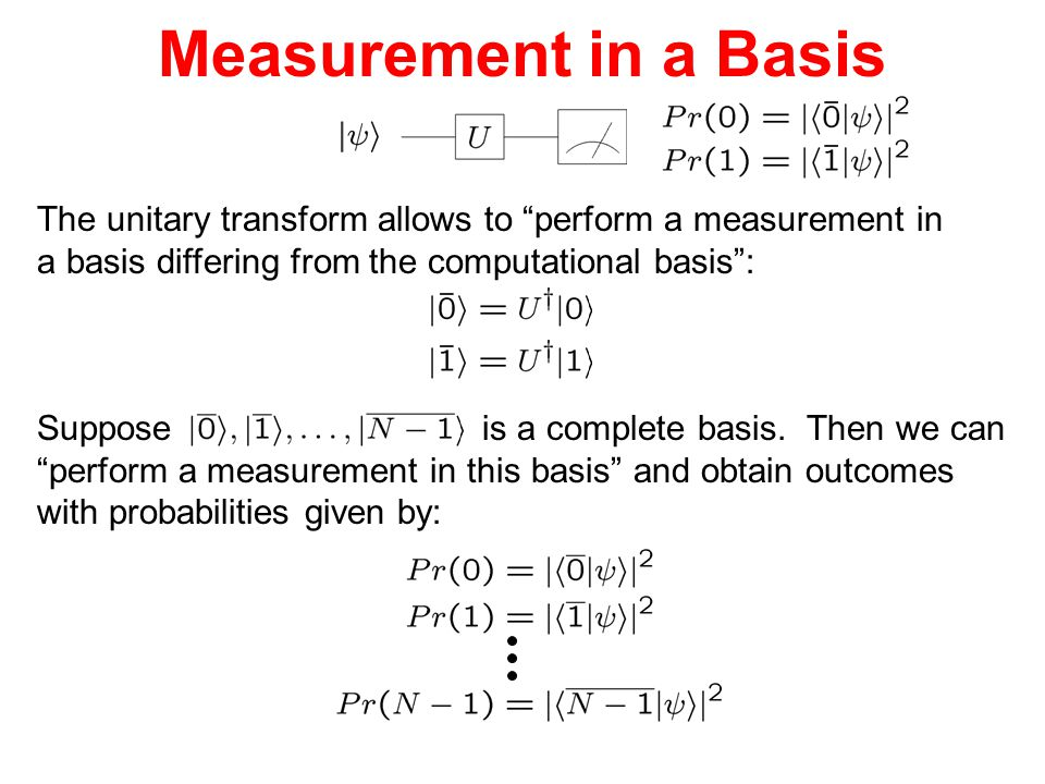 Measurement in a Basis The unitary transform allows to perform a measurement in. a basis differing from the computational basis :
