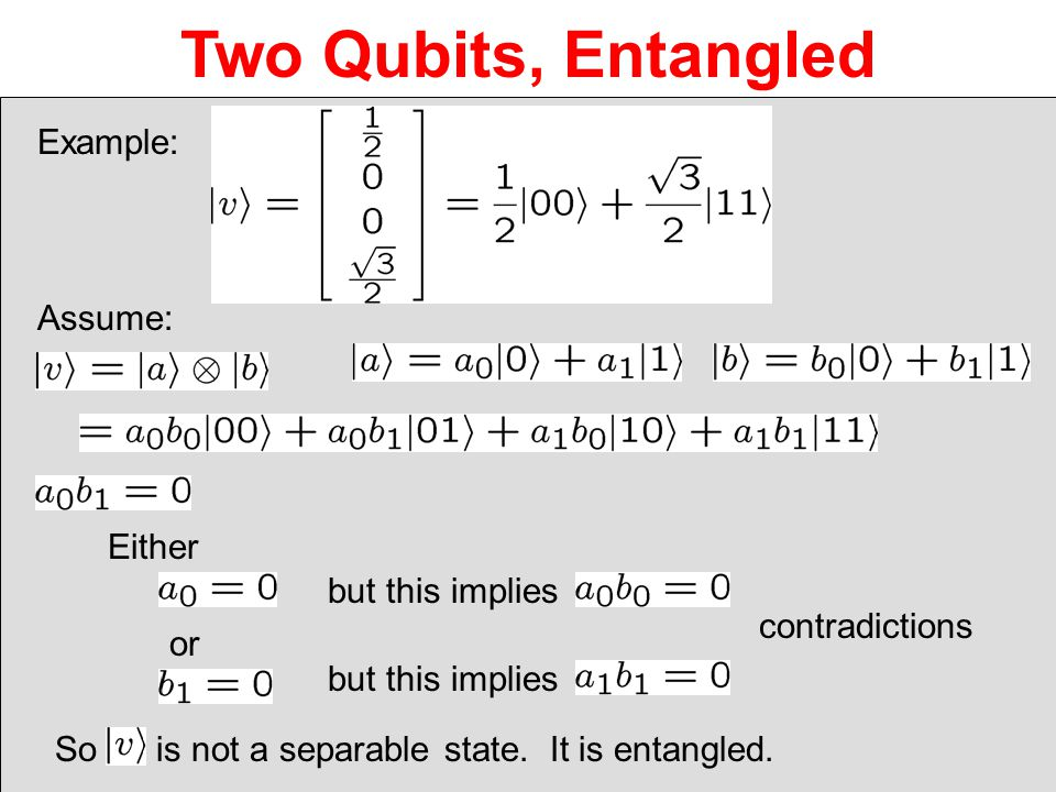 Two Qubits, Entangled Example: Assume: Either but this implies