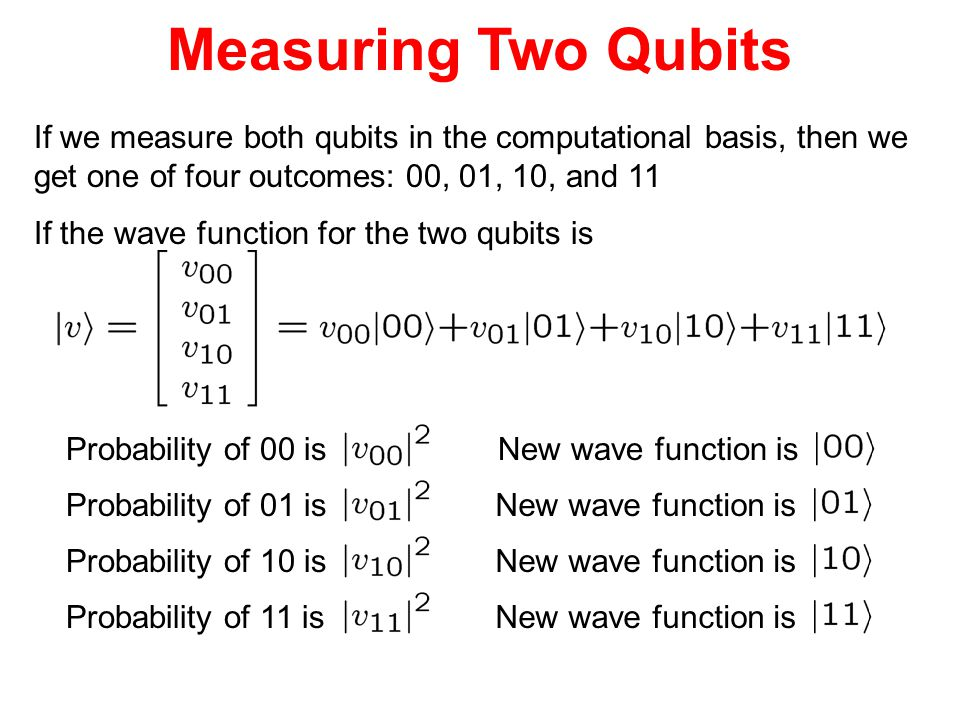 Measuring Two Qubits If we measure both qubits in the computational basis, then we. get one of four outcomes: 00, 01, 10, and 11.