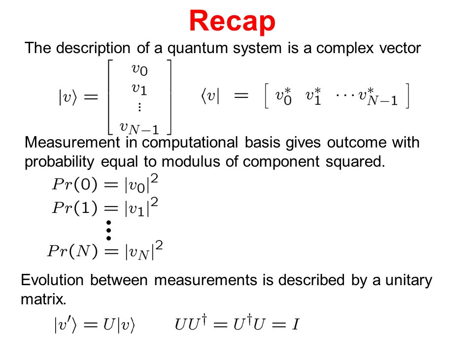 Recap The description of a quantum system is a complex vector