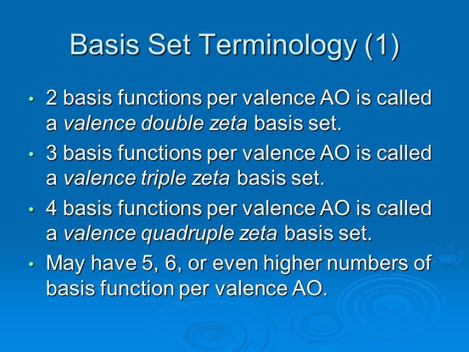 Basis Set Terminology (1)