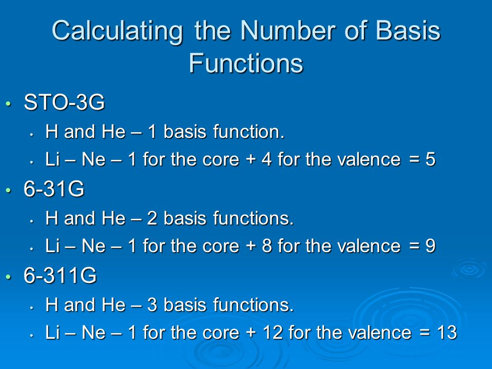 Calculating the Number of Basis Functions