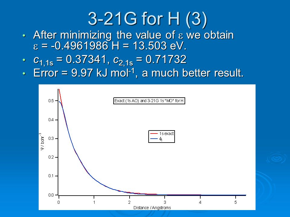 3-21G for H (3) After minimizing the value of e we obtain e = -0.4961986 H = 13.503 eV. c1,1s = 0.37341, c2,1s = 0.71732.