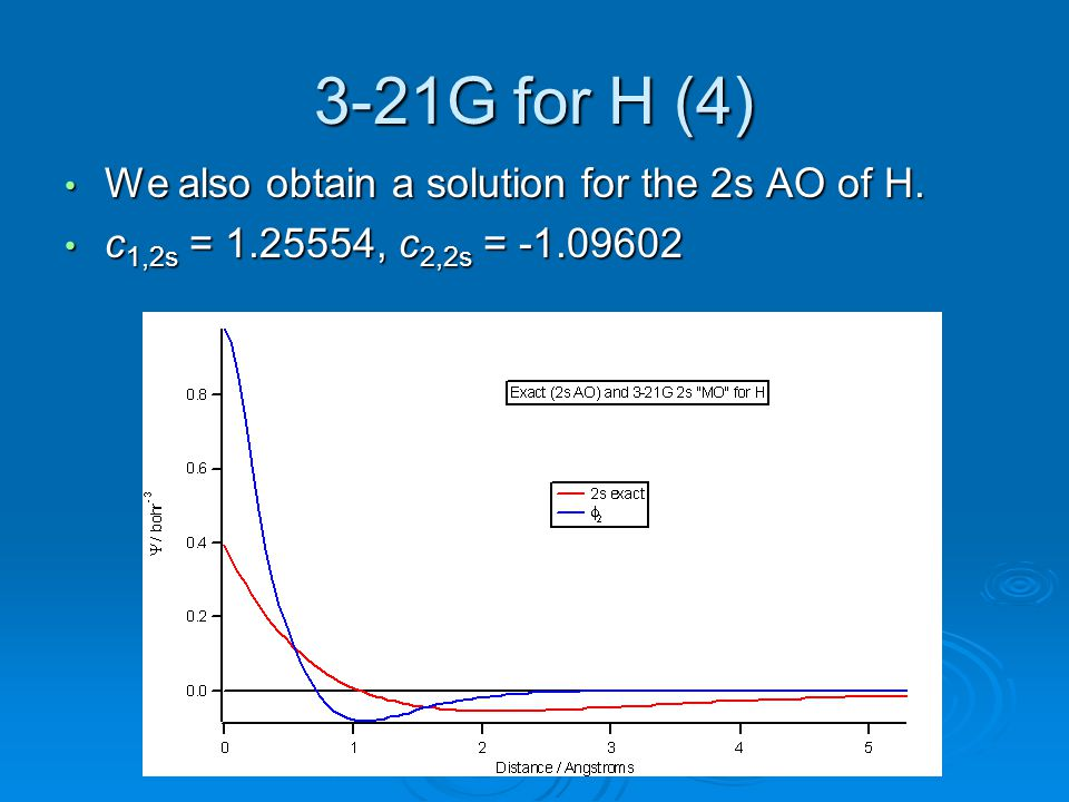 3-21G for H (4) We also obtain a solution for the 2s AO of H.