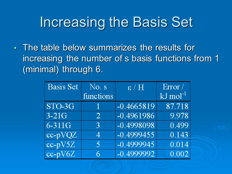 Increasing the Basis Set
