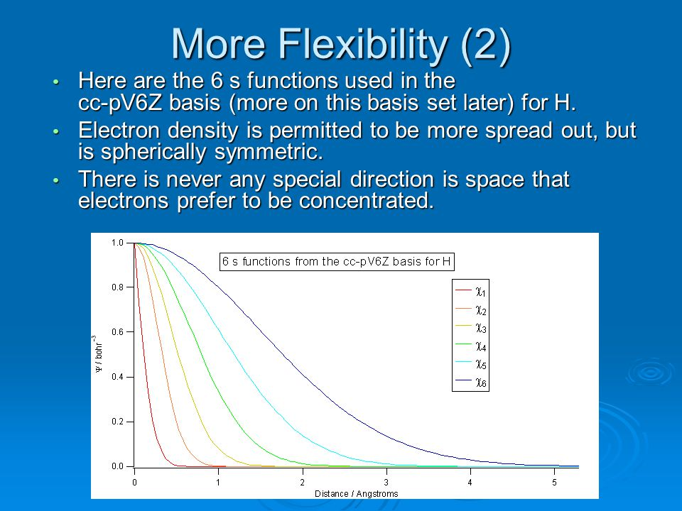 More Flexibility (2) Here are the 6 s functions used in the cc-pV6Z basis (more on this basis set later) for H.