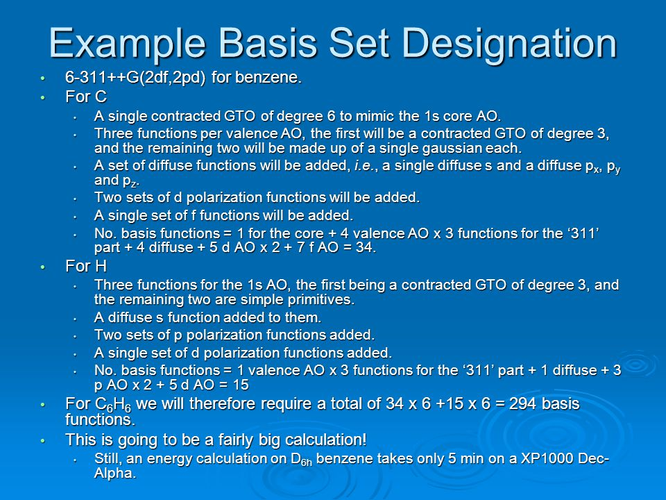Example Basis Set Designation