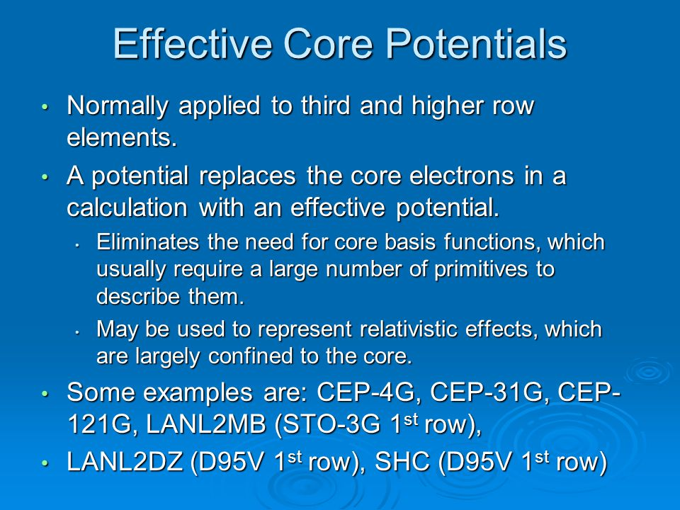 Effective Core Potentials