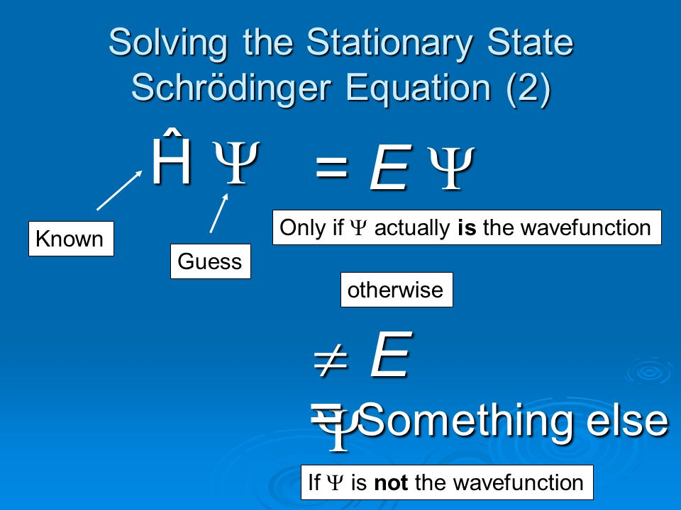 Solving the Stationary State Schrödinger Equation (2)