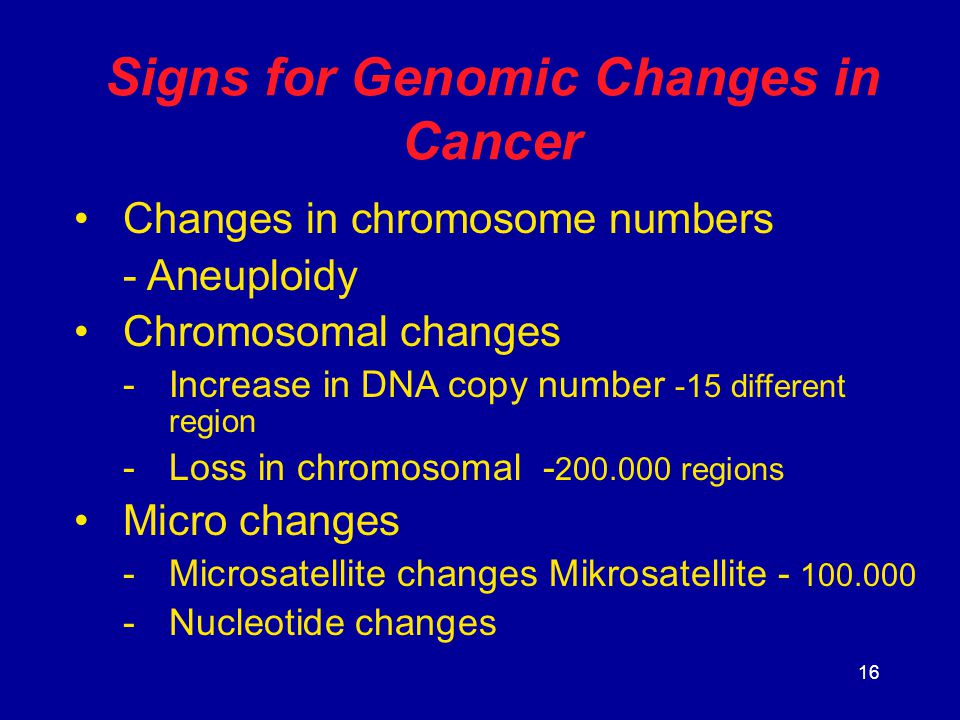 Signs for Genomic Changes in Cancer