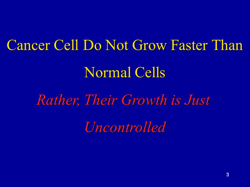 Cancer Cell Do Not Grow Faster Than Normal Cells