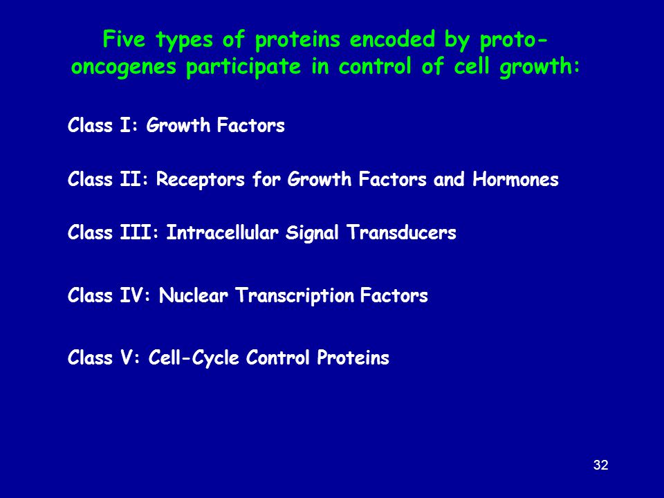 Five types of proteins encoded by proto- oncogenes participate in control of cell growth: