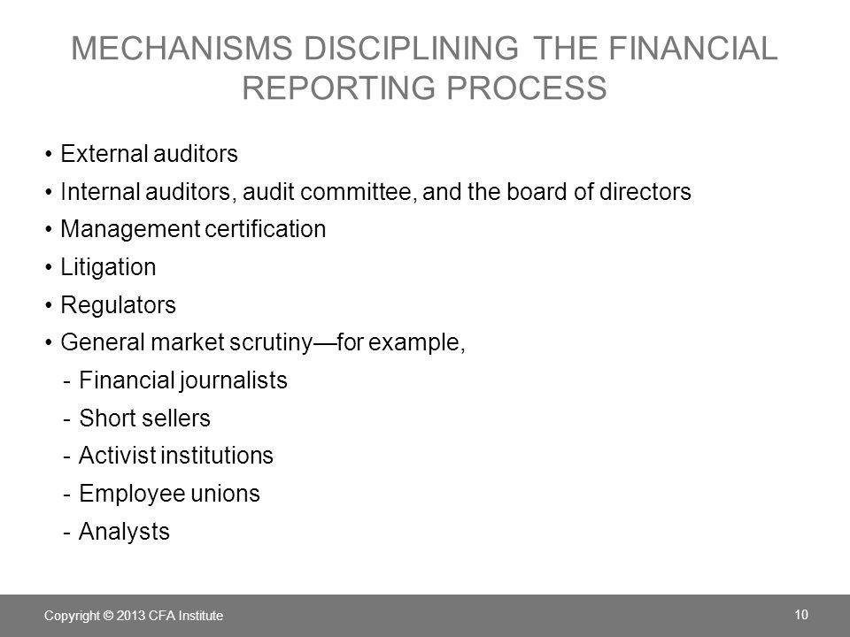 Mechanisms Disciplining the financial reporting process