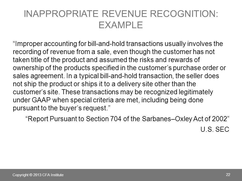 inappropriate revenue recognition: Example