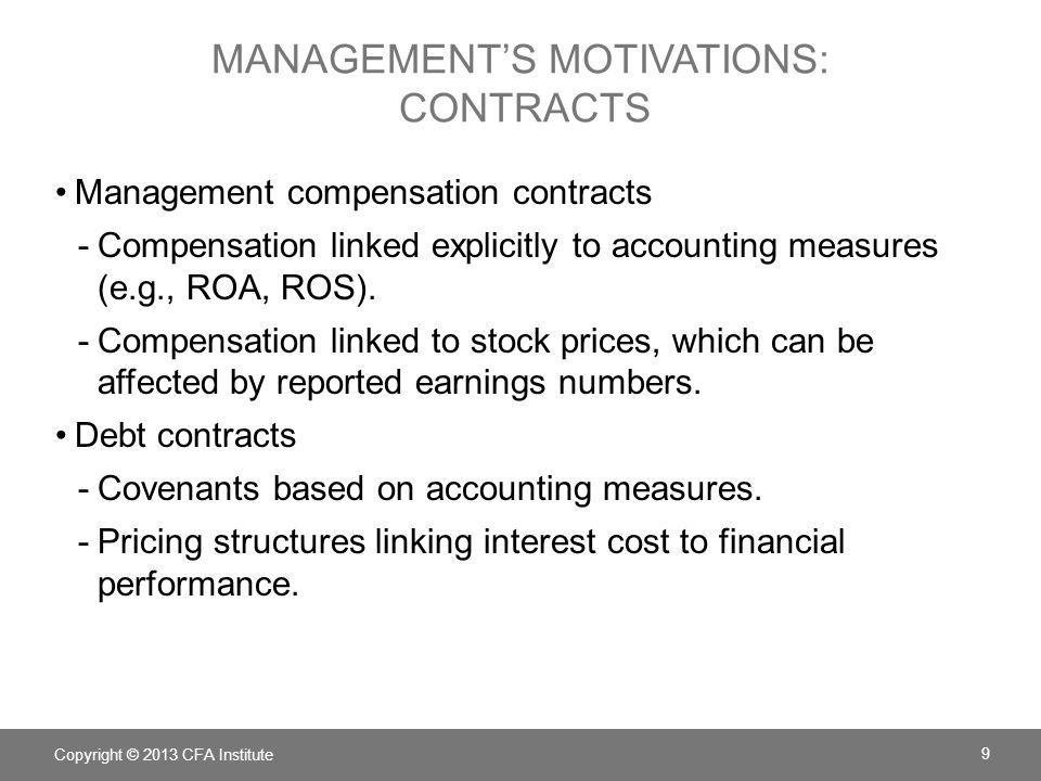 Management's motivations: contracts